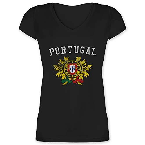 Fussball EM 2021 Fanartikel - Portugal Wappen EM - M - Schwarz - T-Shirt - XO1525 - Damen T-Shirt mit V-Ausschnitt