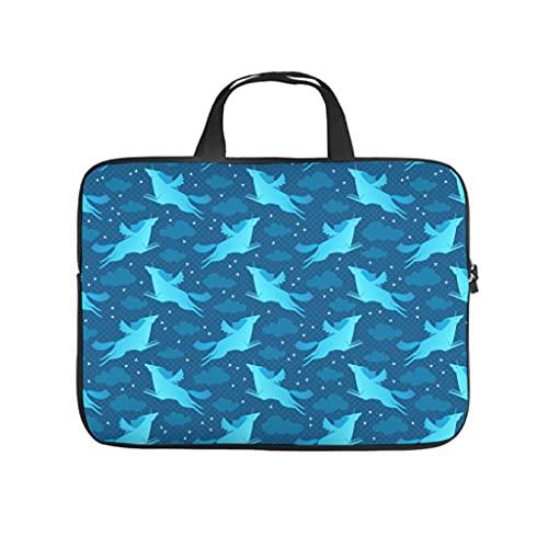 Facbalaign Legende - Funda para portátil (resistente a los arañazos, con asa), diseño de unicornio azul, Blanco, 15 pulgadas,