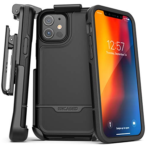 Encased Compatible with iPhone 12 Belt Clip Protective Holster Case (2020 Rebel Armor) Heavy Duty Rugged Full Body Cover with Holder (Black)