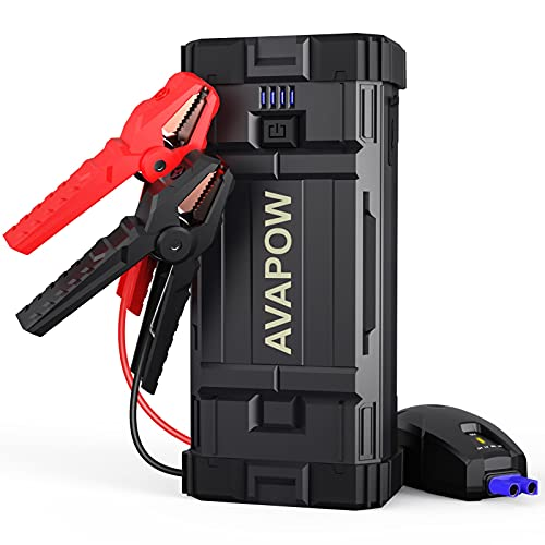AVAPOW Car Battery Jump Starter Portable,1500A Peak Jump Starter Battery Pack,Jumper Box(Up to 6L Gas 5.5L Diesel Engine) Auto Battery Booster with Smart Safety Cable,USB Fast Charging,Type-c