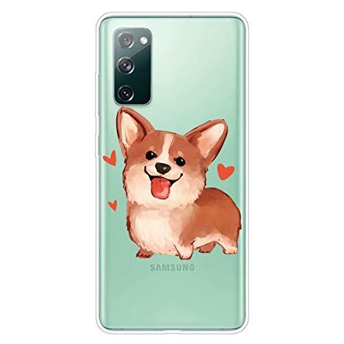 Miagon Transparent Hülle für Samsung Galaxy S20 FE,Corgi Muster Kreativ Süße Durchsichtig Klar Soft Ultra Dünn Silikon Case Cover Schutzabdeckung