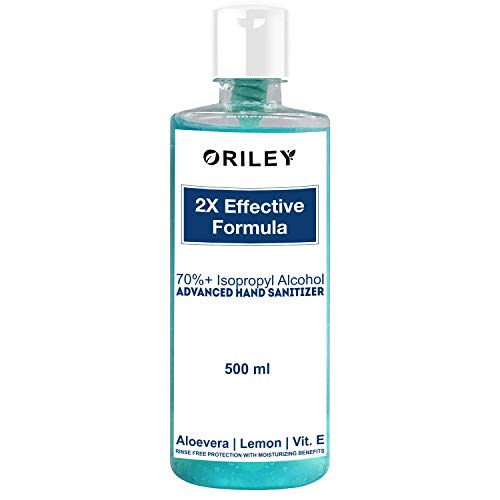 Oriley Waterless Hand Sanitizer 70% Isopropyl Alcohol Based Instant Germ Protection Sanitizing Gel Rinse-free Palm Cleaner Handrub (500ml)