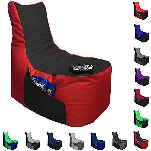 Sitzsack Big Gamer Lounge Ø 80cm Sessel mit EPS Sytropor Füllung In & Outdoor Erwachsene Riesensitzsack Sitzsäcke Sessel Kissen Sofa Sitzkissen Bodenkissen Gaming (Rot + Schwarz)