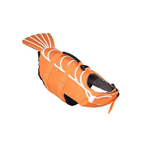 NINIWA Traje de baño para mascotas con forma de ballena, chaleco salvavidas para perro, creativo, ropa de natación, cachorro, suministros de verano, naranja, S
