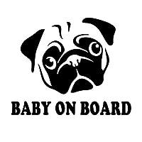 ステッカー 車の中の警告ステッカー、美しい犬、最初のキャラクターの窓、装飾的なパーソナライズステッカー17cm * 14cm (Color : Black)
