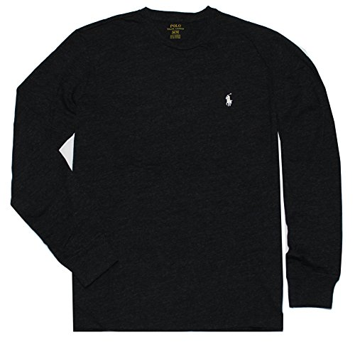 Polo Ralph Lauren Camiseta de manga larga para hombre, Negro carbón, Medium