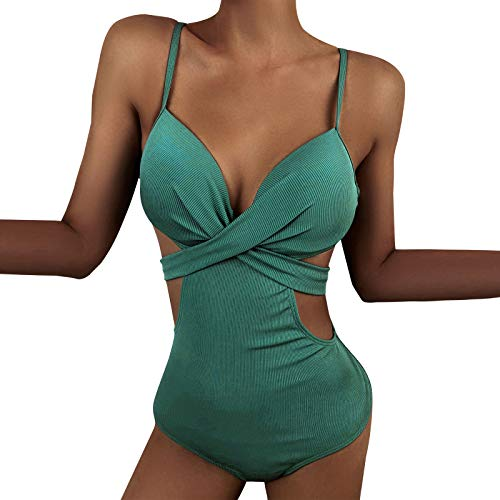 Damen Retro One Piece Badeanzug V Ausschnitt Geraffte Monokini Bauchweg Gepolsterte Badebekleidung Plus Size Einteiliger Bikini