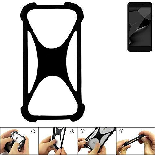 K-S-Trade® Handyhülle Für Blaupunkt SL Plus 02 Schutz Hülle Silikon Bumper Cover Case Silikoncase TPU Softcase Schutzhülle Smartphone Stoßschutz, Schwarz (1x),