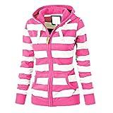 Women Ladies Zipper Tops Hoodie Hooded Sweatshirt Coat Jacket Casual Slim Jumper Hot Pink