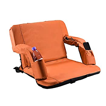 KKA Stadium Seats for Bleachers with Back Support Portable Bleacher Chair for Outdoor Picnic Adjustable Back Armrests Thick Padded Extra Wide Plenty of Pockets Easy to Carry  Orange
