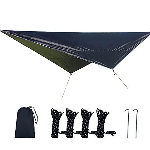 KUYH Tarpa De Camping Impermeable, Toldo Al Aire Libre Portátil, Forma De Diamante De Tela De Oxford con Recubrimiento De Plata 210D, Adecuado para Acampar Y Viajes Al Aire Libre (2.5 * 3.2M),Negro