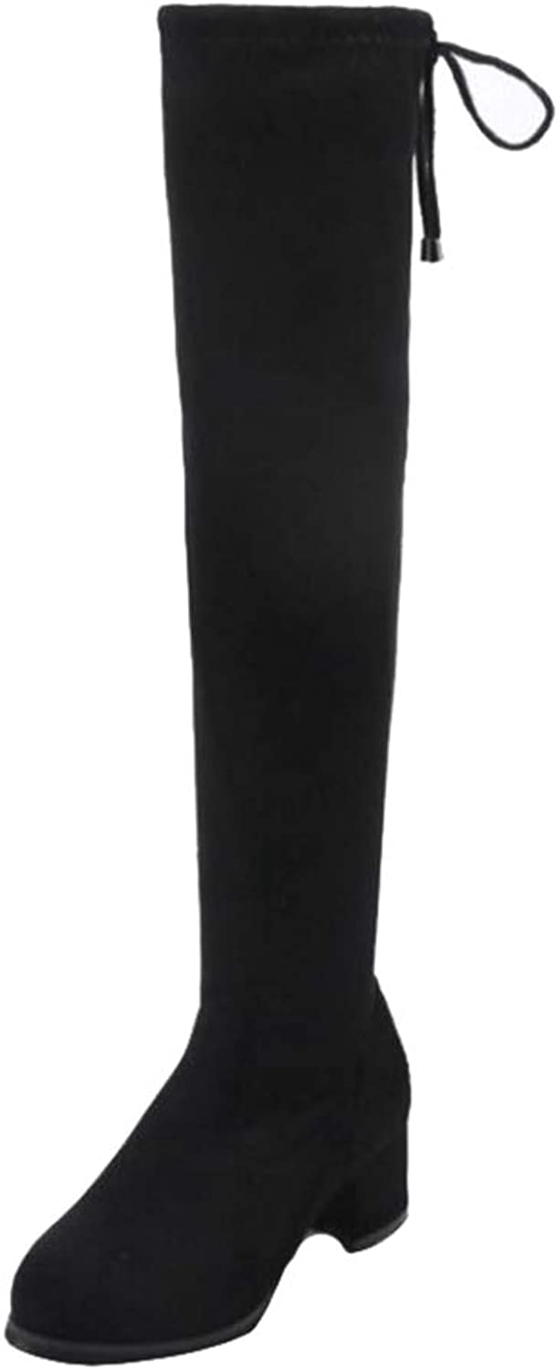 Smilice Women Over-The-Knee Chunky Boots