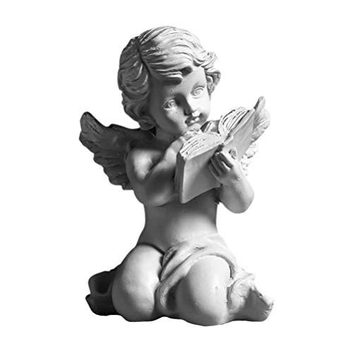 LIOOBO Querubines Estatuilla Miniatura Resina Libro de Lectura Ángel Figura Estatua Ornamento Boda Cumpleaños Fiesta Escritorio Decoración Blanco (Estilo 2)