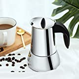 Mr. Rudolf Coffee Maker and Moka Pot,18/10 Stainless Steel Stovetop Espresso - (6 Cups)