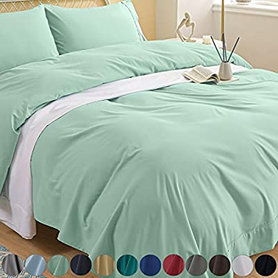 Newspin Bed Sheets Set, 1800 Series Soft Sheets Thicken Durable Double Brushed Microfiber Wrinkle Resistant Bedding Sheet fit 14-18 inch Deep Pockets Mattress(3 Piece Twin Sheet Set, Mint Green)