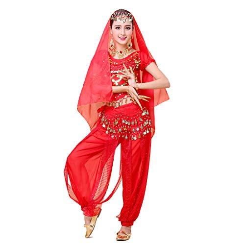 Aiweijia Costume da Danza del Ventre da Donna Costume da Ballo di Bollywood Set di Costumi da Ballo Indiano Bharatanatyam Indiano (Top + Pantaloni + Catena in Vita + Sciarpa Copricapo)
