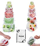 Hensid Pack 12 Silicone Stretch Lids   BPA-Free Stretchable Round and Square Food Covers to Fit All of Containers   Microwave and Dishwasher Safe - White
