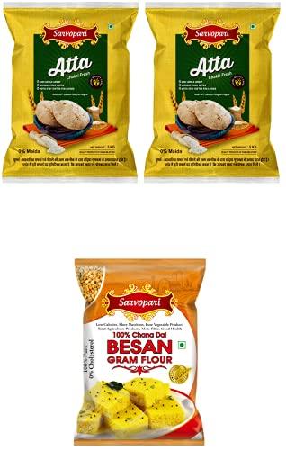 Sarvopari Chakki Fresh Atta 100% Atta and 0% Maida 10KG (5KG,Pack of 2) + FREE Sarvopari 100% Chana Dal Besan (Gram Flour) 500Gm
