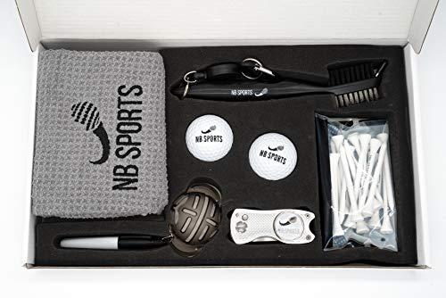 NB SPORTS Golf Geschenk, mit Handtuch, Bällen, Reinigungs-Bürste, Gabel/Pitchgabel, Ball-Marker, Tees