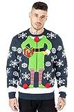 NOROZE Jersey de Navidad para hombre con diseño de Papá Noel a el pub reno, unisex, Regalo Elfo Marina, XL