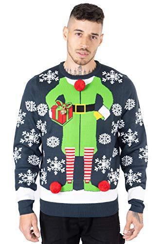 NOROZE - Jersey de Navidad para hombre con diseño de Papá Noel al Pub Reno