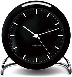 [アルネ・ヤコブセン] Clock 43673(Cityhall) ブラック×ブラック FREE