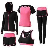 BOTRE 5 Piezas Conjuntos Deportivos para Mujer Chándales Ropa de Correr Yoga Fitness Tenis Suave...