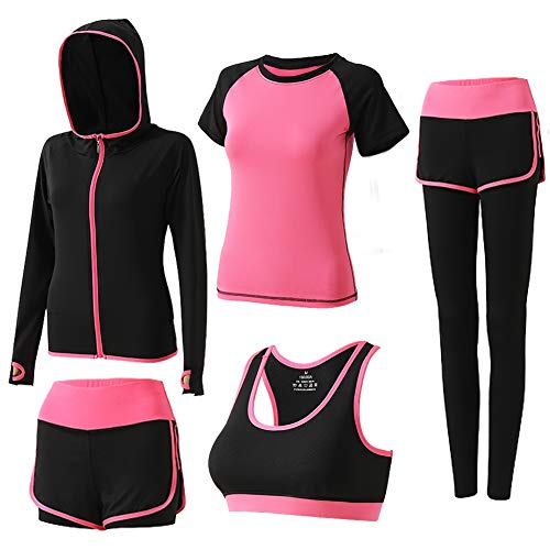 BOTRE 5 Pezzi Tute da Ginnastica Donna Tute Sportive Yoga Fitness Palestra Running Jogging Completi Sportivi Abbigliamento (Rosa Rossa 03, L)