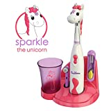 Brusheez Kid's Electric Toothbrush Set - Sparkle The Unicorn - Includes Battery-Powered Toothbrush, 2 Brush Heads, Cute Animal Cover, Sand Timer, Rinse Cup & Storage Base