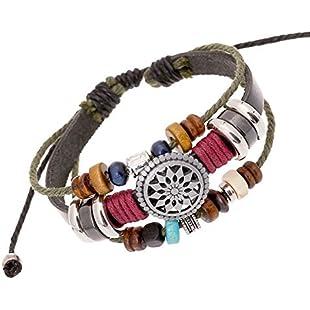 WIBERN Charm Leather Beaded Wrap Bracelet One Piece