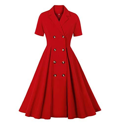 Wellwits Vestido de mujer con botones de doble pecho para mujer