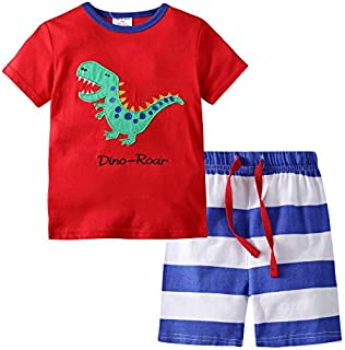 Image of Fun Cotton Dino Roar Dinosaur Shorts Pajama Set for Toddler Boys and Little Boys - See More Prints