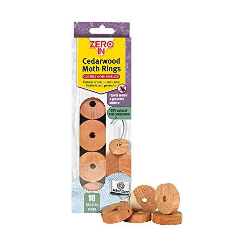 Zero in kledingmotten-afweermiddel van cederhout (10 ringen, effectief, vrij van chemicaliën, kledingmotten en larven afstotend. Hang ze over de kleerhanger in huis.