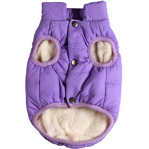 JoyDaog 2 Layers Fleece Lined Warm Dog Jacket for Puppy Winter Cold Weather,Soft Windproof Small Dog Coat,Purple S