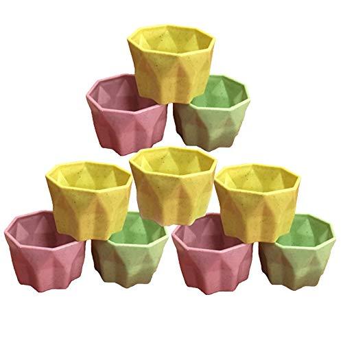 LXCDCH 10 Vasi Vaso da Fiori in Plastica Colorato Mini Pianta Creativa Stile Geometrico Vaso in Ceramica Vasi da Fiori di Miniatura Vaso Country per La Decorazione del Giardino di Balconi