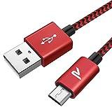 RAMPOW Câble Micro USB 2m Charge Rapide 2.4A - Câble USB en Nylon Tressé pour Samsung, Huawei, LG, Sony, HTC, Nexus, Xiaomi Redmi Note 5 6 Pro, Wiko Lenny Jerry 2 3, etc - Rouge