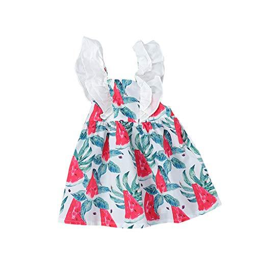 sans Manches - Col Rond - éTé- Col Rond Fruit Princesse Robes Chapeau DéContracté Set pour Tout-Petits BéBé Enfants Filles(6 Mois-3 Ans) Lot De 3 Robes pour BéBé Fille Robe