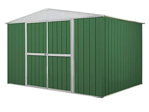 Notek Box in Acciaio Zincato Casetta da Giardino in Lamiera 3.60 x 1.75 m x h2.15 m - 110 kg – 6,30 Metri Quadri (Verde)