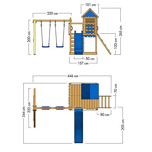 WICKEY Spielturm Klettergerüst Smart Cave mit Schaukel & blauer Rutsche, Baumhaus mit Sandkasten, Kletterleiter & Spiel-Zubehör - 5