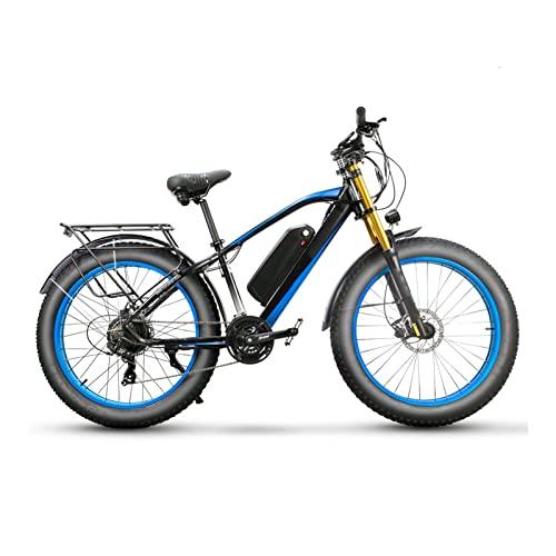 HMEI Bicicleta eléctrica para Adultos 750W 26 Pulgadas Neumático Grueso, Bicicleta eléctrica de montaña 48V 17ah Batería, Bicicleta eléctrica de suspensión Completa (Color : White Blue)