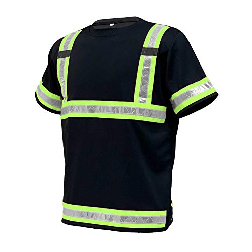Hi Viz Vis Round Neck T-Shirt High Visibility Reflective Tape Safety Security Work Crew Neck Bird Eye Short Sleeve T Shirt Breathable Lightweight Double Tape Workwear Top S-4XL