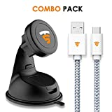 Tech Sense Lab Magback Universal Magnetic Mobile Mount for Car, Dashboard, Windscreen or Work Desk Plus Kevlar 1 m/40-inch Type C to USB2.0 Elegant Tangle-Less Nylon Braided Cable (Silver Grey) Combo
