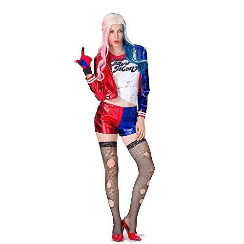 JXJ Disfraz De Harley Quinn para Mujer, Traje De Payaso, Cosplay Femenino, Escuadrón Suicida De Halloween, Disfraz De Fiesta De Disfraces De Halloween para Mujer,S