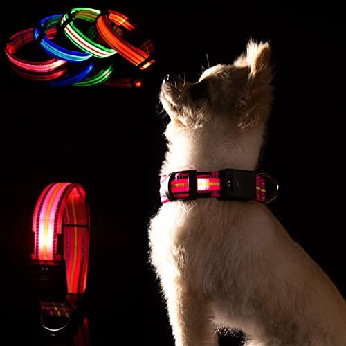 LKJYBG LED Leuchthalsband Hund, USB Wiederaufladbar Wasserdicht ,Sicherheitshalsband für Haustiere Mit Einstellbarer Länge, Geeignet für kleine, große und mittlere Haustiere Rosa S