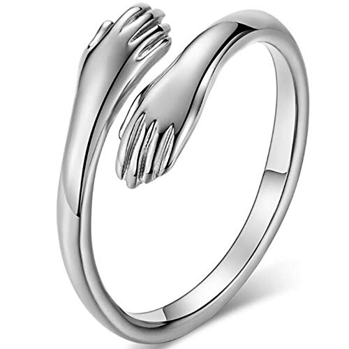 Stainless Steel Hand Style Hug Embrace Statement Promise Anniversary Ring (Silver, 10)