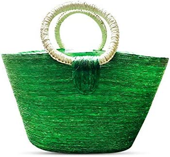 Elly D cor 18 Straw Bag Made of Handwoven Palm Tote Wicker Basket with Handles Artistic Handbags product image