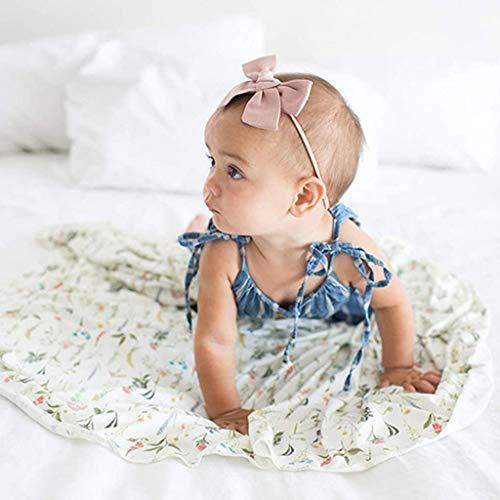 WE-WHLL 2 Pcs Newborn Infant Baby Blanket + Hat Set Soft Breathable Cotton Muslin Swaddle Wrap Floral Bath Towel Sleeping Bag-2