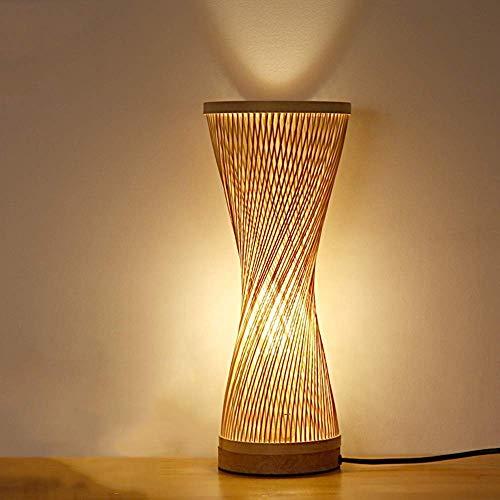 Lámpara de pie Lámpara de bambú ratán mesa Lámpara de estilo japonés simple cabecera de bambú sólido de la lámpara de estudio el sitio de madera Zen Lámpara de mesa de estilo retro Tabla linterna