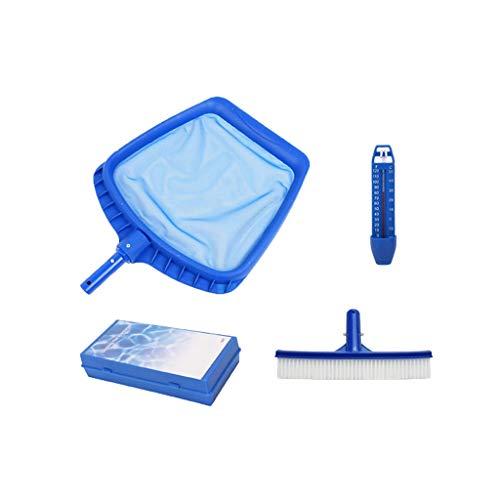 Lot de 4 packs de nettoyage pour piscine Clean Net, thermomètre basique, 10 ml et étanche.