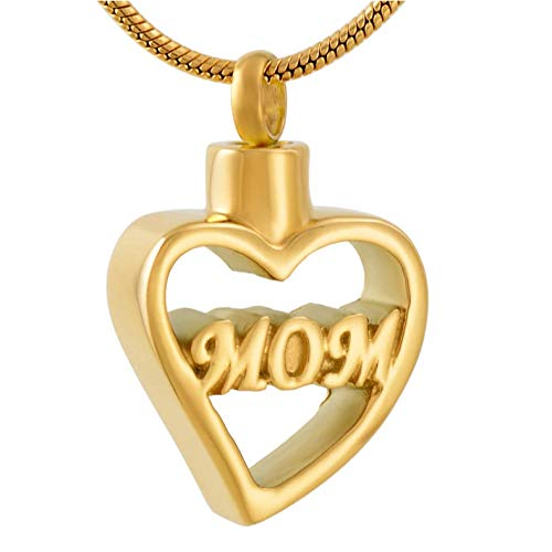 Women Keepsake Golden Stainless Steel Memorial Urn Jewelry Mom in My Heart Cremation Pendant for Ashes